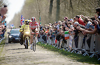 Sean De Bie (BEL/Lotto-Soudal) in sector sector 18: Trouée d'Arenberg - Wallers Forest (2.4km)<br /> <br /> 113th Paris-Roubaix 2015