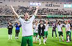 Stockholm 2014-09-21 Fotboll Superettan Hammarby IF - Syrianska FC :  <br /> Hammarbys Linus Hallenius sjunger med Hammarbys supportrar efter matchen och 6-0 segern &ouml;ver Syrianska<br /> (Foto: Kenta J&ouml;nsson) Nyckelord:  Superettan Tele2 Arena Hammarby HIF Bajen Syrianska FC SFC jubel gl&auml;dje lycka glad happy