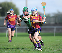 6th October 2013; Donnachada O'Loaghaire, St Josephs OBC, in action against Stephen Murphy, Lucan Sarsfields. Dublin Junior F Hurling Championship Group A, , St Josephs OBC, Lucan Sarsfields v St Josephs OBC, 12th Lock, Lucan, Co Dublin. Picture credit: Tommy Grealy / Actionshots.ie