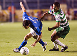 Cruz Azul forward Cesar Delgado (L) fights for the ball with Laguna Santos defender Jorge Campos during their soccer match at the Blue Stadium in Mexico City, March 15, 2006. Cruz Azul won 4-1 to Laguna Santos. © Photo by Javier Rodriguez/