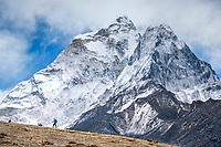 Hiking in the Khumbu Valley with Ama Dablam towering above. Nepal.