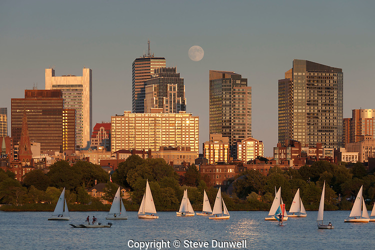 moon rising, Beacon Hill skyline, from MIT, Boston, MA
