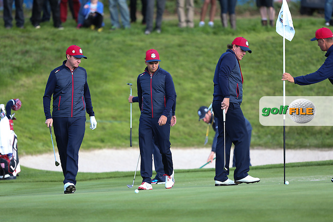 Jimmy Walker (USA) Rickie Fowler (USA) and Phil Mickelson (USA) during the 2014 Ryder Cup from Gleneagles, Perthshire, Scotland. Picture:  David Lloyd / www.golffile.ie