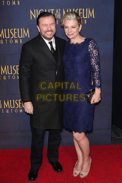 NEW YORK, NY - DECEMBER 11: Ricky Gervais and Jane Fallon at the 'Night At The Museum: Secret of the Tomb' New York Premiere at the Ziegfeld Theater on December 11, 2014 in New York City. <br /> CAP/MPI/MPI99<br /> &copy;MPI99/MPI/Capital Pictures