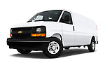 Stock pictures of low aggressive front three quarter view of a 2018 Chevrolet Express 3500 3500 Extended Work Van 4 Door Cargo Van