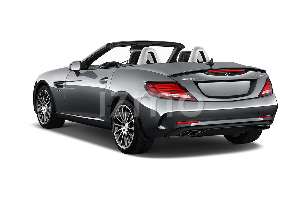 Car pictures of rear three quarter view of 2018 Mercedes Benz SLC-Roadster AMG-SLC43 2 Door Convertible Angular Rear