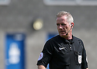 Referee Mark Heywood during the International match between England U19 and Netherlands U19 at New Bucks Head, Telford, England on 1 September 2016. Photo by Andy Rowland.