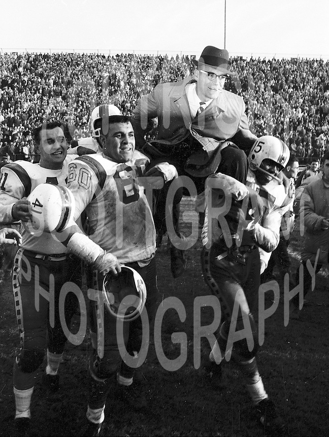 Angelo Mosca and Frank Clair Ottawa Rough Riders 1960. Copyright photograph Ted Grant