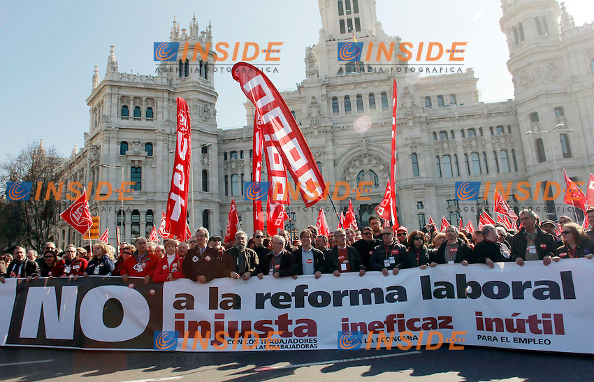 Manifestazione contro la riforma sul lavoro del Governo Spagnolo. .Candido Mendez General, general secretary of UGT Union Workers, and Ignacio Fernández Toxo, general secretary of CCOO Union Workers, march with workers and citizens during a protest in downtown Madrid, 19 February 2012. The general protest is promoted by the main workers union in all cities of Spain and his against the labor reform of the Spanish Govern. PHOTO Insidefoto / Diego Sinova / Anatomica Press.
