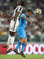 Calcio, Serie A: Juventus - Napoli, Torino, Allianz Stadium, 22 aprile, 2018.<br /> Napoli's Allan Marques Loureiro (r) in action with Juventus' Blaise Matuidi (l) during the Italian Serie A football match between Juventus and Napoli at Torino's Allianz stadium, April 22, 2018.<br /> UPDATE IMAGES PRESS/Isabella Bonotto