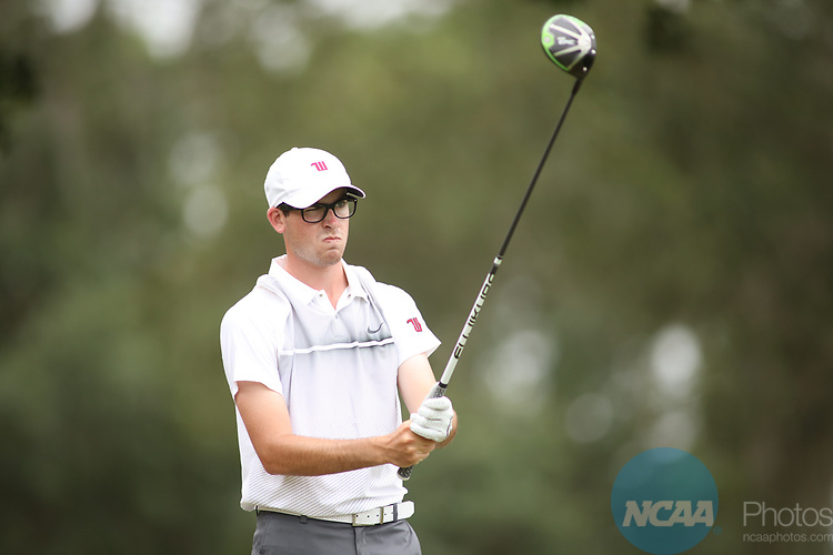 HOWEY IN THE HILLS, FL - MAY 19:Colin Laszlo or Wittenberg tees off during the Division III Men's Golf Championship held at the Mission Inn Resort and Club on May 19, 2017 in Howey In The Hills, Florida. (Photo by Cy Cyr/NCAA Photos via Getty Images)