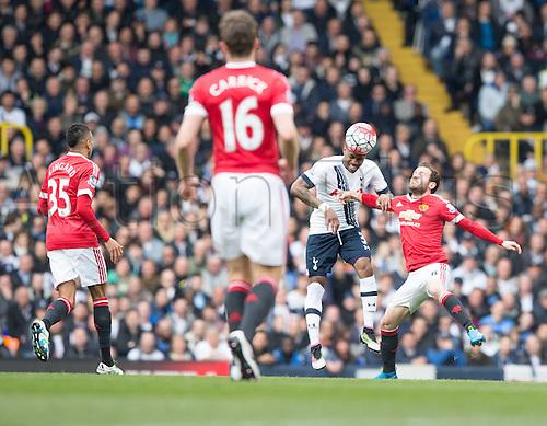 10.04.2016. White Hart Lane, London, England. Barclays Premier League. Tottenham Hotspur versus Manchester United. Tottenham Hotspur defender Danny Rose (3) wins the header against Manchester United forward Juan Mata (8)