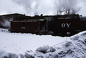 3/4 view of C&amp;TS caboose #0503 beside rotary snowplow #OY at Chama.<br /> C&amp;TS  Chama, NM