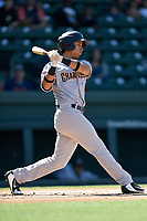 Third baseman Oswaldo Cabrera (10) of the Charleston RiverDogs bats in a game against the Greenville Drive on Sunday, April 29, 2018, at Fluor Field at the West End in Greenville, South Carolina. Greenville won, 2-0. (Tom Priddy/Four Seam Images)
