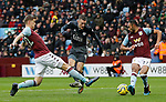 Jamie Vardy of Leicester City shoots past Bjorn Engels and Ahmed El Mohamady of Aston Villa during the Premier League match at Villa Park, Birmingham. Picture date: 8th December 2019. Picture credit should read: Darren Staples/Sportimage