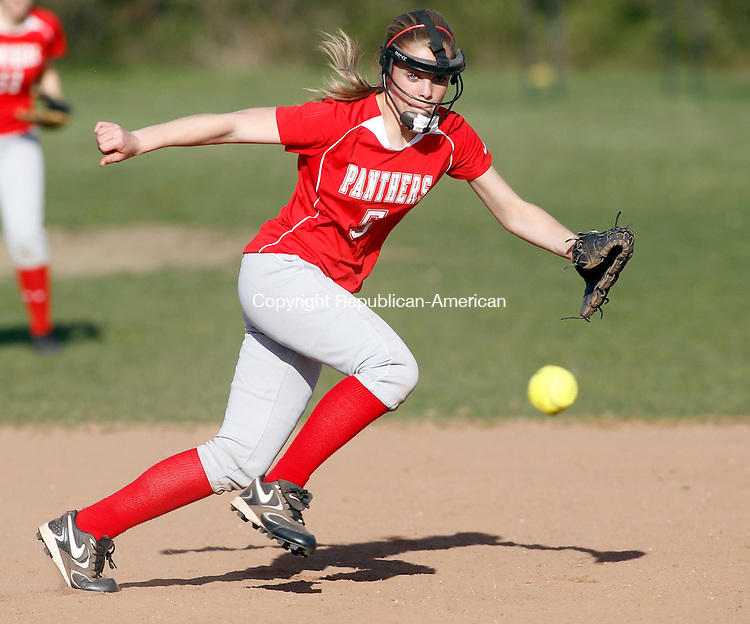 Southbury, CT-13 April 2012-041312CM10-  Pomperaug's Erin Ruggerio tries to run down a grounder during their 4-1 win over Oxford Friday afternoon in Southbury.   Christopher Massa Republican-American