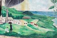 France, île de la Réunion, Saint Joseph, Mur peint  représentant une sucrerie  // France, Ile de la Reunion (French overseas department), Saint Joseph, painted wall  depicting a Sugar-making factory,