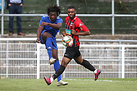Charleston Brown of Redbridge and Gary Bowes of Saffron Walden during Redbridge vs Saffron Walden Town, Essex Senior League Football at Oakside Stadium on 7th September 2019