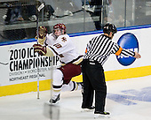 Jimmy Hayes (BC - 10) - The Boston College Eagles defeated the Yale University Bulldogs 9-7 in the Northeast Regional final on Sunday, March 28, 2010, at the DCU Center in Worcester, Massachusetts.