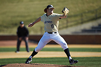 Wake Forest Demon Deacons starting pitcher Colin Peluse (8) in action against the Gardner-Webb Runnin' Bulldogs at David F. Couch Ballpark on February 18, 2018 in  Winston-Salem, North Carolina. The Demon Deacons defeated the Runnin' Bulldogs 8-4 in game one of a double-header.  (Brian Westerholt/Four Seam Images)