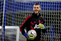 Manchester United goalkeeper, David De Gea, in cheerful mood ahead of kick-off in spite of him being named as a substitute during Chelsea vs Manchester United, Emirates FA Cup Football at Stamford Bridge on 18th February 2019