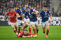 George North of Wales and Lauret Wenceslas and Romain Ntamack of France during the NatWest Six Nations match between France and Wales on February 1, 2019 in Paris, France. (Photo by Anthony Dibon/Icon Sport)