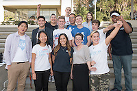 "Occidental College students pose after participating in a panel discussion about their experiences working on presidential, senate, house, governor and state legislative races in eleven states this fall as part of Campaign Semester. Photo taken on Dec. 8, 2016. Oxy is the only college in the country with a program like this.<br /> The students are: Ronald Chan '18, Mackenzie Bretz '18, Ricardo Parada '18, Arianna Sue '18, Manjun Hao '20, Katherine Tobler '17, Joscelyn Guzman '18, Daryl Barker '18, Seth Miller '18, Milo Keller '18, Ivano Del Piccolo '18, Meghan Hobbs '18, ""Mickey"" Yu-Hao Yao '18 and Carson Malbrough '19. <br /> (Photo by Marc Campos, Occidental College Photographer)"
