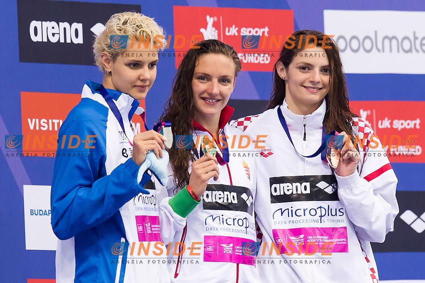 HOSSZU Katinka HUN gold medal ZEVINA Daryna UKR silver medal, SAMARDZIC Matea CRO bronze medal<br /> London, Queen Elizabeth II Olympic Park Pool <br /> LEN 2016 European Aquatics Elite Championships <br /> Swimming<br /> Women's 200m backstroke final <br /> Day 09 17-05-2016<br /> Photo Giorgio Perottino/Deepbluemedia/Insidefoto