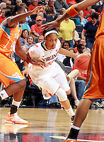 CHARLOTTESVILLE, VA- NOVEMBER 20: Ataira Franklin #23 of the Virginia Cavaliers drives between Shekinna Stricklen #40 of the Tennessee Lady Volunteers and Meighan Simmons #10 of the Tennessee Lady Volunteers during the game on November 20, 2011 at the John Paul Jones Arena in Charlottesville, Virginia. Virginia defeated Tennessee in overtime 69-64. (Photo by Andrew Shurtleff/Getty Images) *** Local Caption *** Meighan Simmons;Shekinna Stricklen;Ataira Franklin