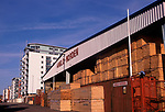 A5EXG9 Timber store and new apartments Ipswich Wet Dock, Suffolk, England. Image shot 2006. Exact date unknown.