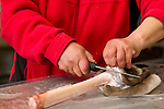 A woman removes the hair and skin from a bone at the game market in Nuuk, Greenland