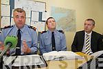 GARDAI: Speaking to the media at the Garda Press Conference in Killorglin Garda Station on Monday, l-r:  Superintendent John Gilligan of the Garda Press Office, Inspector Donal Ashe and Detective Sergeant Dan Keane.