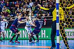 Patrick WIESMACH (#4 SC DHfK Leipzig) \Nikola VLAHOVIC (#3 SG Bietigheim) \Christian SCHAEFER (#11 SG Bietigheim) \Juergen MUELLER (#12 SG Bietigheim) \ beim Spiel in der Handball Bundesliga, SG BBM Bietigheim - SC DHfK Leipzig.<br /> <br /> Foto &copy; PIX-Sportfotos *** Foto ist honorarpflichtig! *** Auf Anfrage in hoeherer Qualitaet/Aufloesung. Belegexemplar erbeten. Veroeffentlichung ausschliesslich fuer journalistisch-publizistische Zwecke. For editorial use only.