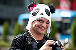 October 31, 2012, Tokyo, Japan -  A white man wears the costume of Panda for Halloween in Shibuya district, Tokyo. (Photo by Yumeto Yamazaki/AFLO)