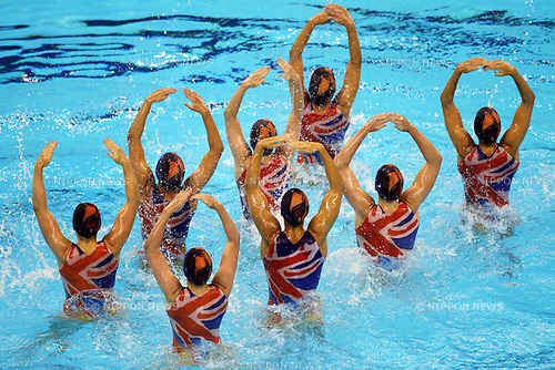 Great Britain National Team Group (GBR), ..July 23, 2011 - Synchronised Swimming : ..14th FINA World Championships Shanghai 2011, Team Free Routine Final ..at Oriental Sports Center Indoor Stadium, Shanghai, China. ..(Photo by Daiju Kitamura/AFLO SPORT) [1045]