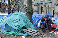 November 21, 2011, one protester packs up readying to vacate St. James park following the decision handed down this morning by Ontario Superior Court judge David Brown, upholding the Occupy Toronto tent camp eviction.