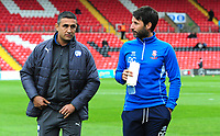 Chesterfield manager Jack Lester and Lincoln City manager Danny Cowley<br /> <br /> Photographer Andrew Vaughan/CameraSport<br /> <br /> The EFL Sky Bet League Two - Lincoln City v Chesterfield - Saturday 7th October 2017 - Sincil Bank - Lincoln<br /> <br /> World Copyright &copy; 2017 CameraSport. All rights reserved. 43 Linden Ave. Countesthorpe. Leicester. England. LE8 5PG - Tel: +44 (0) 116 277 4147 - admin@camerasport.com - www.camerasport.com
