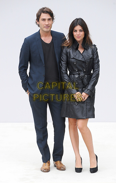 Robert Konjic and Julia Restoin-Roitfeld.Burberry Prorsum S/S Show Arrivals at Kensington Gardens, London, England..September 19th 2011.LFW full length black leather jacket mac blue suit couple.CAP/BEL.©Tom Belcher/Capital Pictures.