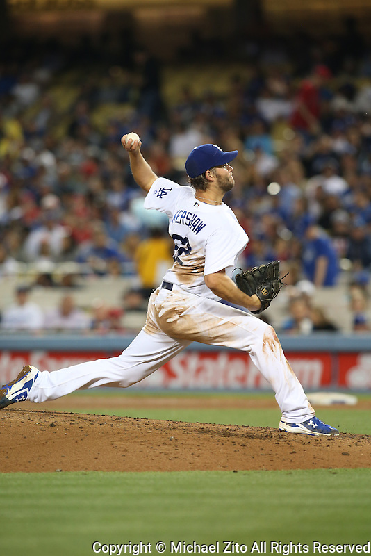 05/17/16 Los Angeles, CA: Los Angeles Dodgers starting pitcher Clayton Kershaw #22 during an MLB game between the Los Angeles Dodgers and the Los Angeles Angels played at Dodger Stadium