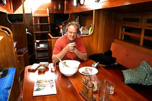 Nick Kats in Teddy's comfortable saloon