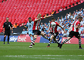 28th May 2018, Wembley Stadium, London, England;  EFL League 2 football, playoff final, Coventry City versus Exeter City; Jordan Willis of Coventry City shoots past the Exeter City defenders to score his sides 1st goal in the 49th minute to make it 1-0