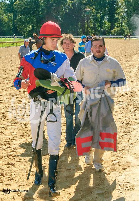 Crash McNamara before The Longines Gentlemans International Fegentri race at Delaware Park on 9/14/15 - Mr. Jindrich Fabris aboard