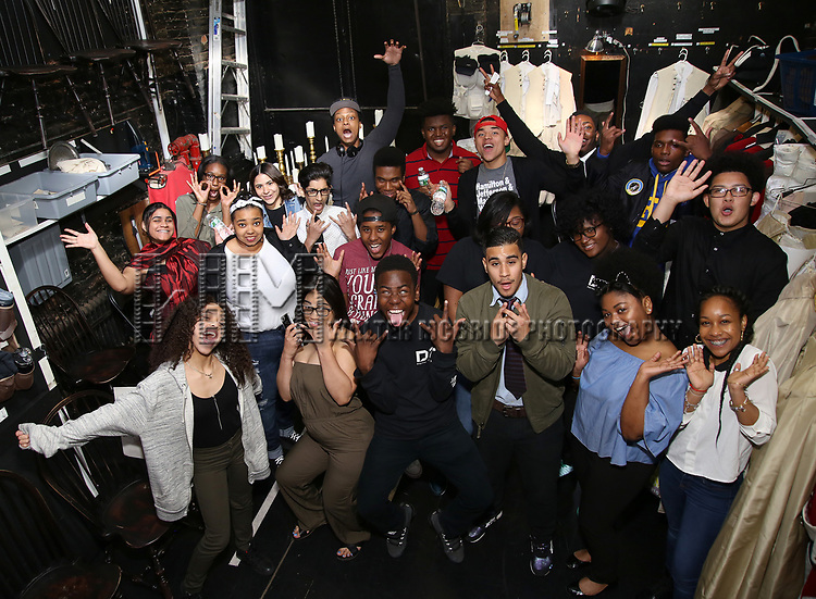 "J. Quinton Johnson with students before The Rockefeller Foundation and The Gilder Lehrman Institute of American History sponsored High School student #EduHam matinee performance of ""Hamilton"" at the Richard Rodgers Theatre on June 7, 2017 in New York City."