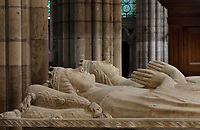 Effigy of Louis, duke of Orleans, 1372-1407, son of Charles and Jeanne of Bourbon, brother of Charles VI, father of Charles of Orleans, and effigy of Valentine Visconti, 1366-1408, wife of Louis of Orleans, made 1504, on the funerary monument of the Dukes of Orleans, marble, 16th century, with effigies of Louis, Duke of Orleans, 1372-1407, Valentine Visconti his wife, 1366-1408, and their sons Charles the Poet, 1394-1465, and Philip, 1396-1420, comte de Vertus, in the Chapelle Saint-Michel, in the Basilique Saint-Denis, Paris, France. Statuettes of 24 saints and apostles stand in niches around the tomb, which was commissioned in 1502 by Louis XII and made by Italian artists. This tomb was originally in the Chapelle des Celestins in Paris. The basilica is a large medieval 12th century Gothic abbey church and burial site of French kings from 10th - 18th centuries. Picture by Manuel Cohen