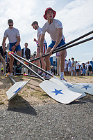 """Henley on Thames, United Kingdom, 4th July 2018, Wednesday, View, Newcastle University, Competing in the Temple Challenge Cup, collect their oar's, before boating, for their heat,  first day of the annual,  """"Henley Royal Regatta"""", Henley Reach, River Thames, Thames Valley, England, © Peter SPURRIER,"""