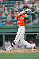 Center fielder Zach Sullivan (24) of the Greensboro Grasshoppers bats in a game against the Greenville Drive on Thursday, August 27, 2015, at Fluor Field at the West End in Greenville, South Carolina. Greenville won, 10-2.  (Tom Priddy/Four Seam Images)