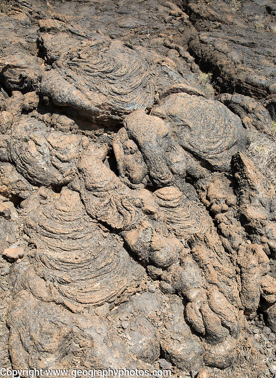 Solidified pahoehoe or ropey lava field, Tahiche, Lanzarote, Canary Islands, Spain