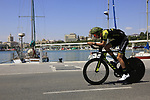 Riders recon the course before Stage 1 of the La Vuelta 2018, an individual time trial of 8km running around Malaga city centre, Spain. 25th August 2018.<br /> Picture: Eoin Clarke | Cyclefile<br /> <br /> <br /> All photos usage must carry mandatory copyright credit (© Cyclefile | Eoin Clarke)
