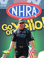 Apr 12, 2015; Las Vegas, NV, USA; NHRA pro stock driver Shane Gray during the Summitracing.com Nationals at The Strip at Las Vegas Motor Speedway. Mandatory Credit: Mark J. Rebilas-