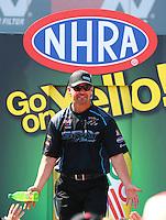 Apr 12, 2015; Las Vegas, NV, USA; NHRA pro stock driver Shane Gray during the Summitracing.com Nationals at The Strip at Las Vegas Motor Speedway. Mandatory Credit: Mark J. Rebilas-